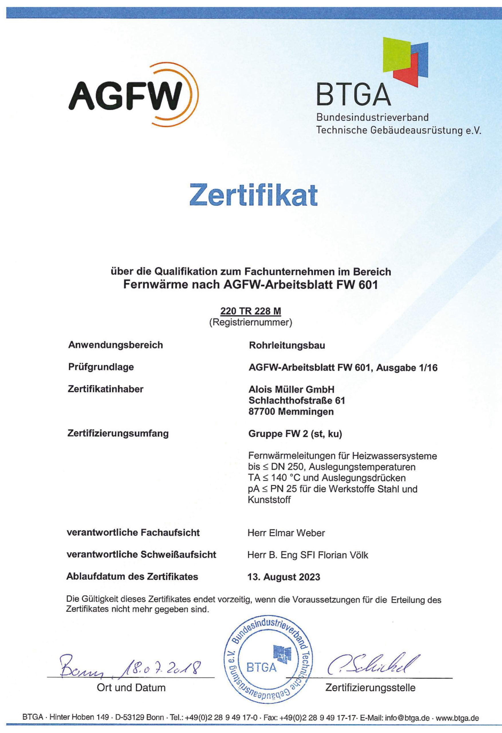 Fernwärme AGFW Zertifikat FW 601