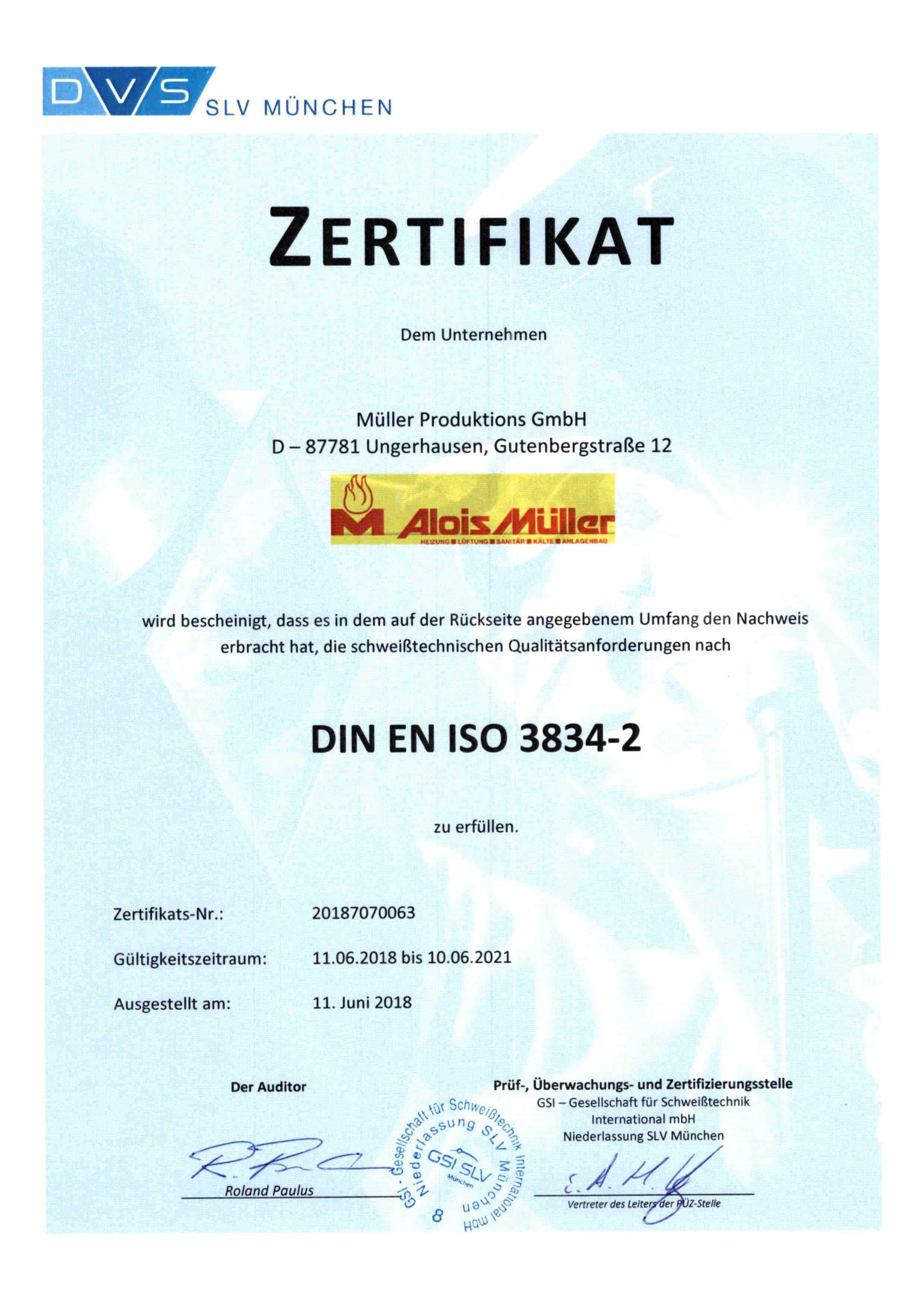 Schweiß-Zertifikat der GSI SLV München
