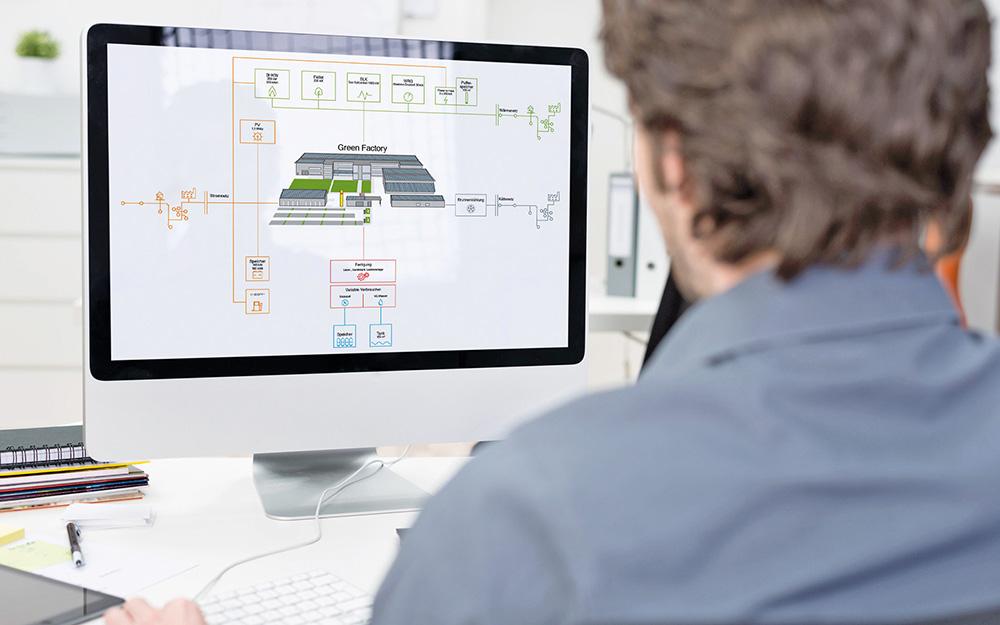 Imagebild Planung. Ingenieur vorm Computermonitor.
