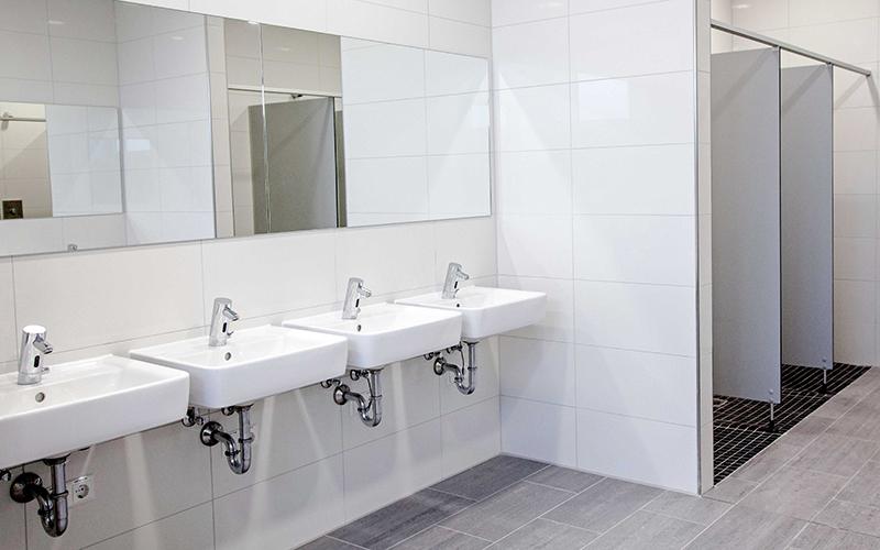 Beispiel für sanitäre Anlagen bei einem Gewerbekunden.